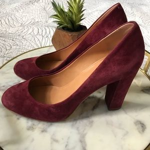 J. Crew • Burgundy Suede Leather Heels